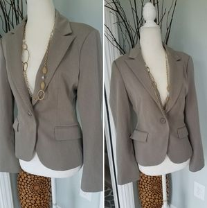 Express fitted taupe one button blazer 4